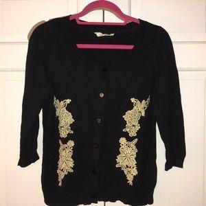 Anthropologie Black & Gold Cardigan, Size M